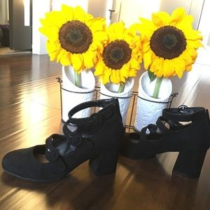 2/$25 NWOT Black Block Heels w/ Strappy Buckles